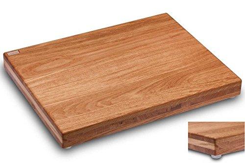 Schneidboard Eiche Premium - Design Schneidebrett Aus Holz - Made In Germany - 53x40x6 cm - Mit 2 Gratis Schneidauflagen
