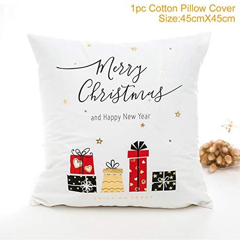 WERNG Funda de Almohada de Navidad Adorno Decoración de Navidad para la habitación del hogar Noel Navidad Cristmas Decoración Hogar Feliz año Nuevo Regalo 2020 Funda de cojín 36