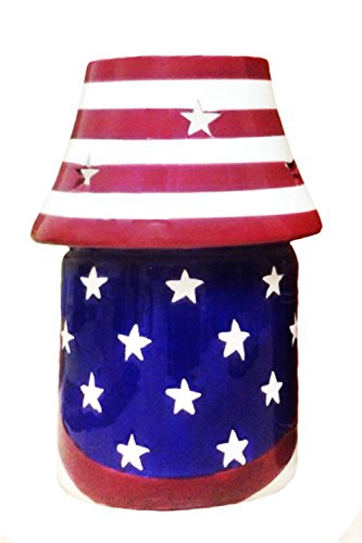 American Flag, Hand Painted Ceramic, Candle Jar Holder with Shade, 87941 By ACK