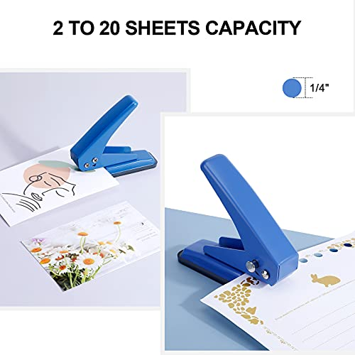 """MROCO 1/4"""" Hole Punch Hole Puncher Single Hole Punch One Hole Punch 1 Hole Punch with Non-Skid Base for Paper, Card, Plastic, Leather, Tag, Chipboard and Art Project, 20 Sheets Punch Capacity, Blue Photo #3"""