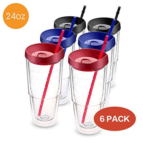 Civago Clear Insulated Acrylic Plastic Tumbler Set with Lid and Reusable Straw, Classic Double Wall Tumbler Cup - 24 oz, 6 Pack (2 Black, 2 Red, 2 Blue)