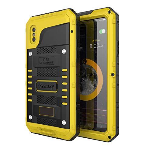 Beeasy Hülle Kompatibel mit iPhone XS/X, Wasserdicht Outdoor Handy Hülle Stoßfest Militärstandard Schutzhülle mit Bildschirmschutz Waterproof Metall Schutz vor Stürzen Stößen Heavy Duty Handyhülle,Gelb