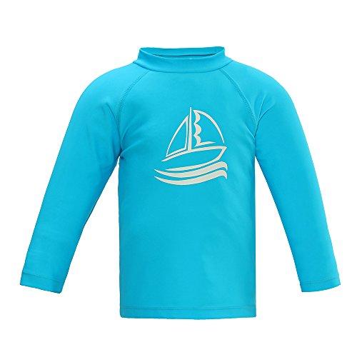 LACOFIA Costumi da Bagno per Bambino Maglietta Nuoto Maniche Lunghe per Ragazzi Rashguard Protezione Solare Asciugatura Rapida Blu 90