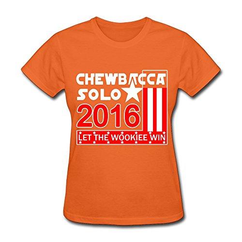 YX-Tee Fashion Design xy-tee para Mujer Camiseta de Manga Corta Chewbacca Solo 2016Let el Wookiee Win Deepheather