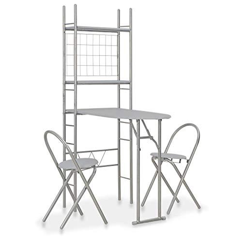 Tidyard 3-teilig Bistro Set Tish Gruppe Lagerregal mit 2 Fachböden,Essgruppe Küchenbar 1 Tisch und 2 Stühle,MDF & Stahl,Grau + Silbern