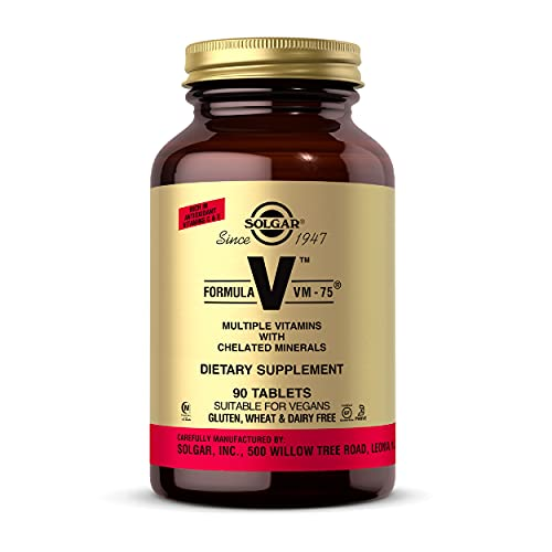 Solgar Formula VM-75, 90 Tablets - Multivitamin with Chelated Minerals - Vitamin A, B6, B12, C, D, E - Biotin, Magnesium, Calcium, Iron, Zinc, - Vegan, Gluten Free, Dairy Free, Kosher - 90 Servings