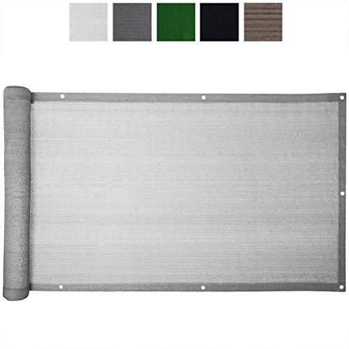 FANGJIE Protección Visual 80x900cm Resistente al Viento Balcón Privacidad Protección con Cierre de Cuerda para casa, jardín y balcón, Gris Claro