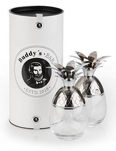 Buddy´s Bar – 2 Vasos de cóctel de piña, 350 ml, de Acero Inoxidable Cristal, Apto para Alimentos, Incluye Caja de Regalo, 2 Unidades, Acero Inoxidable y Cristal