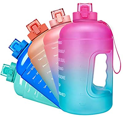 Venture Pal Large Half Gallon/64oz Motivational Water Bottle with Chug Lid & Removable Infuser, BPA Free Leakproof Water Jug with Time Marker to Ensure You Drink Enough Water Throughout The Day