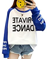 BSCOOL長袖tシャツ レディース トレーナー ゆったり 切り替え プルオーバー パーカー 薄手 トップス 春 秋 ストリート系 通学(Dブルー)