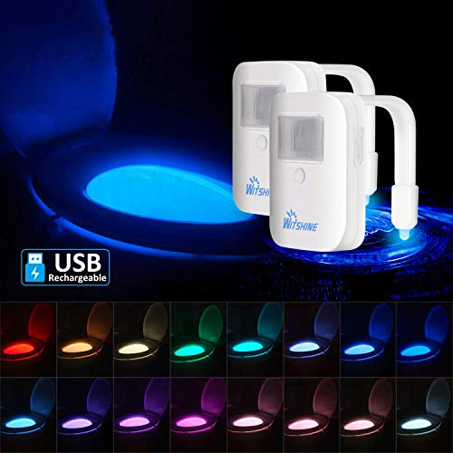 2 Pack Rechargeable 16-Color Toilet Night Light