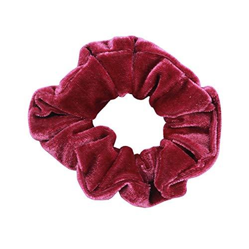 Rainbow Soft Velvet Scrunchies Tie-dye Hair Ring Rubber Band Elastic Bands Rope Ties Women Girl Accessories,038-Deep Red