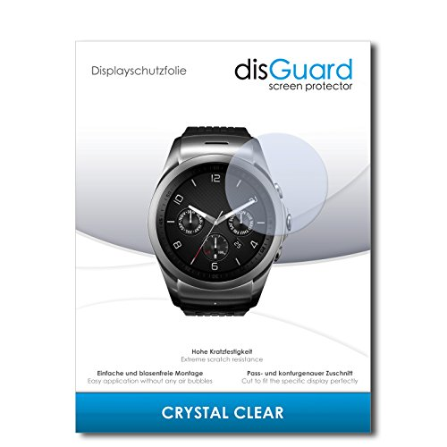 disGuard Displayschutzfolie für LG Watch Urbane LTE [2 Stück] Crystal Clear, Kristall-klar, Unsichtbar, Extrem Kratzfest - Displayschutz, Schutzfolie, Glasfolie, Panzerfolie