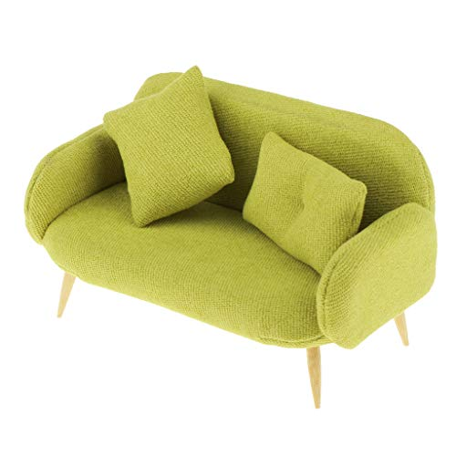Toygogo 1/12 Puppenhaus Möbel Miniatur Sofa Schlafsofa Couch mit Kissen Wohnzimmer Deko Zubehör, Farbewahl - Grün