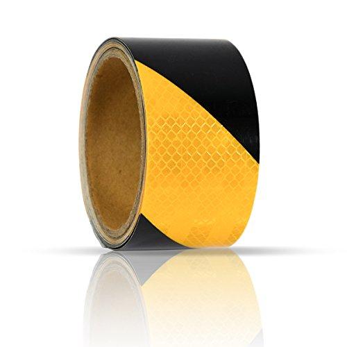 eyepower Rotolo Catarifrangente lungo 3m largo 5cm riflette la luce sicurezza segnala pericolo nastro adesivo rifrangente a strisce Nero e Giallo