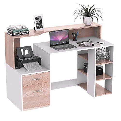 "HOMCOM 54"" Multi-Level Modern Design Home Office Desk with 3 Storage Shelves & 2 Pull-Out Drawers, Oak"