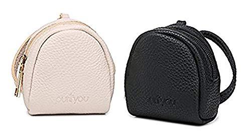 purifyou Premium Leather Dummy Case, Schnullerhalter & Nippelschutz-Tragetasche | Wasserdichte Nylon-Innentasche & Reisetasche mit Clip | Für 2 Schnuller oder Brusthauben (2er-Set, Schwarz & Beige)