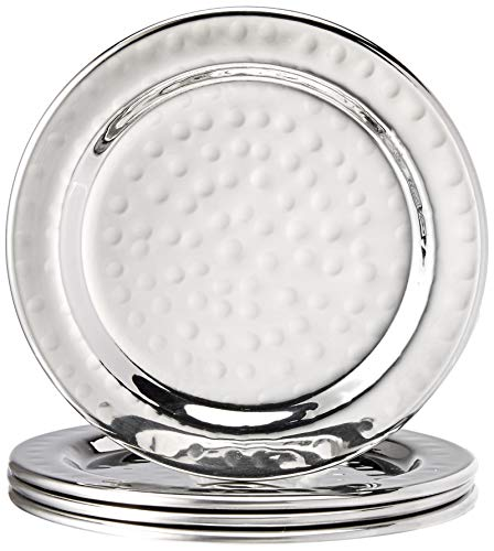 Elegance Hammered 4-Inch Stainless Steel Coasters, Set Of 4