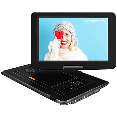 APEMAN 2020 Upgrade 15.5 inch Portable DVD Player with High Resolution, Large Size Screen, 6000mAh/6 Hours Rechargeable Battery, Direct Play in Formats AVI/RMVB/MP3/JPEG, Support USB and SD Card Black