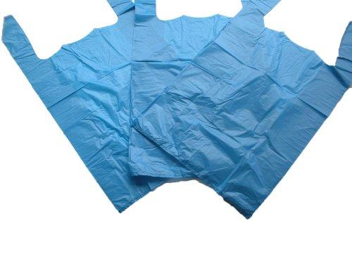 GP Globe Packaging 100 x Strong 11x17x21' Blue Plastic Vest Carrier Bags, 18mu, 1