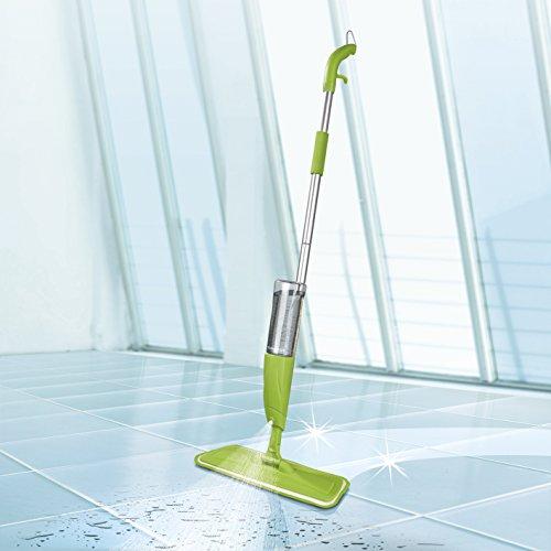 Scopa lavapavimenti a spruzzo con tanica XXL da 600ml, innovativa scopa verde mela con funzione spray integrata, per pavimenti