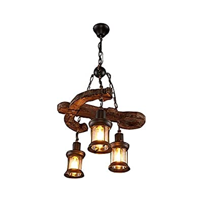 Joypeach 3 Heads Vintage Wooden Chandeliers,Retro Industrial Style Chandeliers For Dining Rooms,Chandeliers For Living Room,Bar Chandeliers (110V)