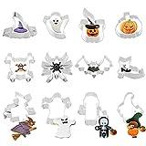 Fumanduo 12 Pezzi Formine per Biscotti, Stampi per Biscotti di Halloween Modello per Biscotti in Acciaio Inossidabile Tagliabiscotti a 12 Forme Diverse