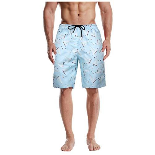 SUccess Bañador de verano para hombre, con estampado 3D, para playa, surf y deportes 3 azul M