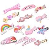 14 Stück Baby Mädchen Haarspangen, Metall Haarklammern Haarklipser Set Haarclips Niedliche Muster-Haarnadel für Mädchen Kinder Haarschmuck (Rosa Anzug)