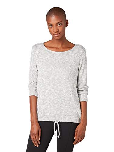 TOM TAILOR Damen T-Shirts/Tops Langarmshirt in Melange-Optik Silver Grey Melange,XXL