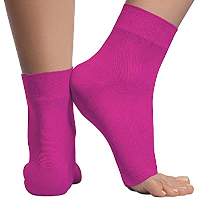 Ankle Compression Sleeve - 20-30mmhg Open Toe ?ompression Socks for Swelling, Plantar Fasciitis, Sprain, Neuropathy - Nano Brace for Women and Men (Medium, Pink)