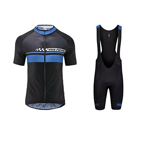 Uglyfrog Neue Radsport Anzüge Herren Kurzarm Trikots+Bib Kurze Hosen Gel Pad Summer Cycling Kit Triathlon Clothes für Radsport Rennrad Einzigartig Designs