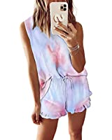 2pcs Womens Tie Dye Printed Ruffle Pajama Sets Lounger Sleep Leisure Wear (Pink-Blue,M)