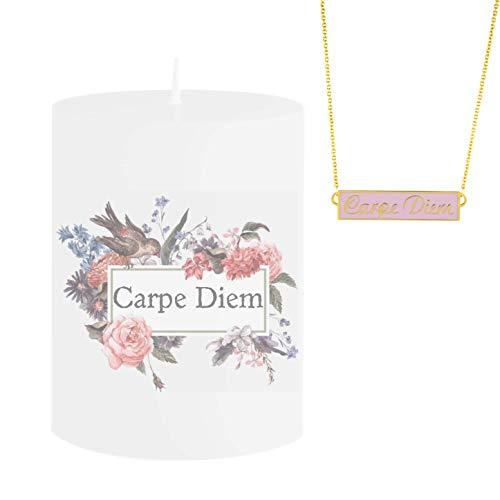 Vela con diseño de Spell con joyas y mensaje Carpe Diem – Collar de oro rosa escondido con inscripción Carpe Diem – Vela aromática Jasmine Aroma – Idea de regalo única