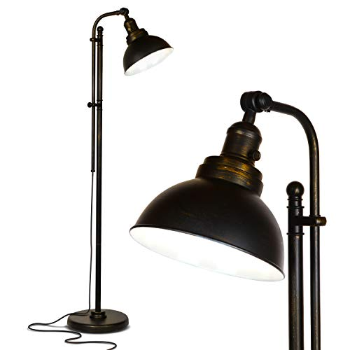 Brightech Dylan - Industrial Floor Lamp for Living Rooms & Bedrooms - Rustic Farmhouse Reading Lamp - Standing, Adjustable Head Indoor Pole Lamp