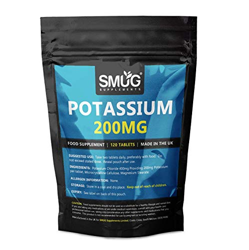 Potassium 200mg Tablets | Smug Supplements | Can Contribute to Normal Blood Pressure, Nervous System, Muscle Health and Electrolyte Balance (120 Tablets)