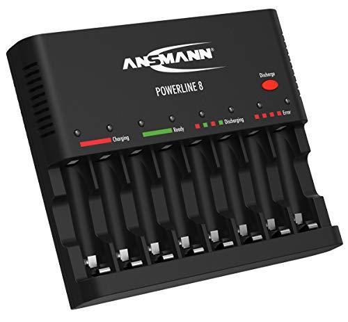 ANSMANN Caricabatterie Powerline 8 universale - Caricatore 1-8 batterie ricaricabili stilo AA e ministilo AAA - Caricabatteria USB Smartphone Tablet