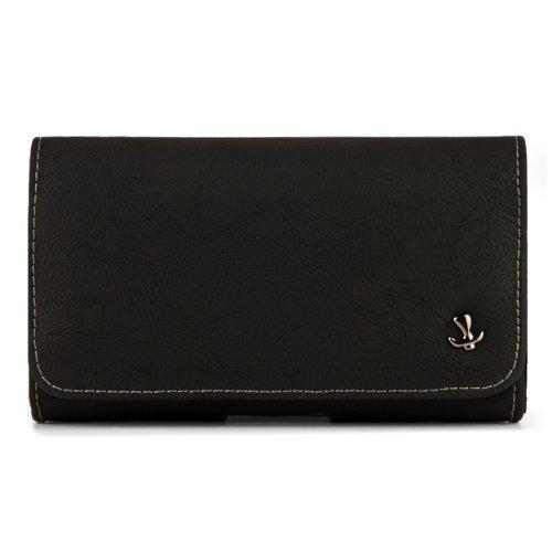 Horizontale Kunstledertasche mit Gürtelclip & Magnetklappe, Innenmaße 13,2 x 7,6 x 1,8 cm, Schwarz