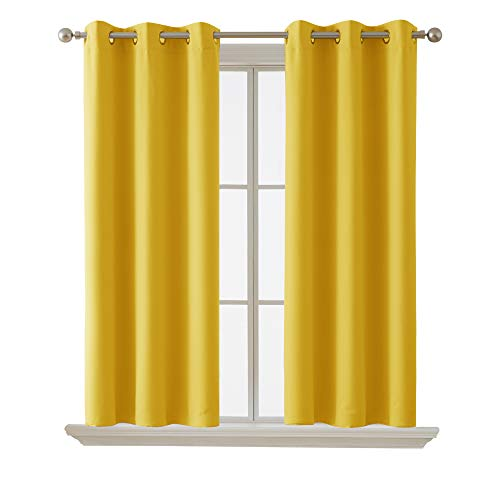 Deconovo Curtains Blackout Curtain Room Darkening Thermal Insulated Curtains Grommet Window Curtain for Bedroom, Mellow Yellow, 38 x 54 Inch, 2 Panels