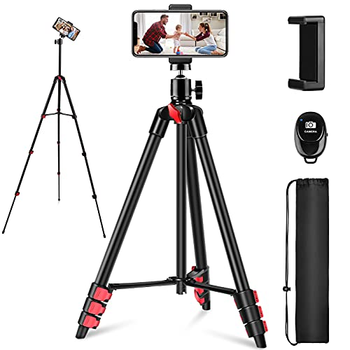 """Phone Tripod, 54"""" iPhone Tripod Stand with Remote Shutter, Compatible with Cell Phone/Camera, Adjustable iPhone Tripod Mount Perfect for Video Recording,Live Stream etc"""