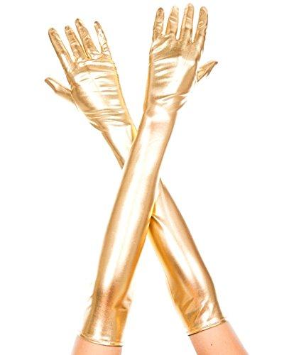 Queenshiny® Lange Leder-Optik Handschuhe in Schwarz wet look (Gold)