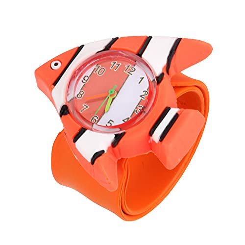 Reloj Niño Yuan Ou Reloj de Pulsera de Pulsera de Banda de Silicona de Dibujos Animados de Animales Lindos para bebés niños Naranja