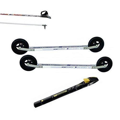 Ski Skett Série Ski Roue, Ski Roue Off-Road, Fixations Salomon Profil SK, bâtons pour Ski Roue Long. 165 cm.