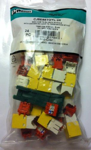 Panduit Mini-Com Cat5e Modular Jack, Yellow, 24-Pack CJ5E88TGYL-24