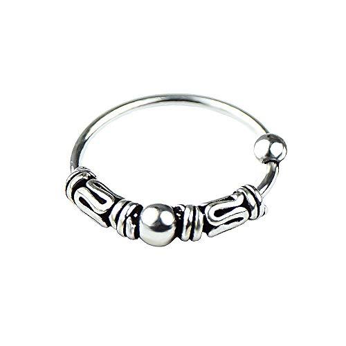 Willys Jewellery Aro Piercing Plata de Ley 925 Aro Delgado y Fino Piercing de Oreja y Nariz para Damas y Girls (Cierre de Bola)