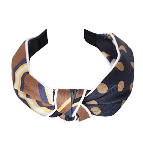 Dreamlulu Cross Bandeau de cheveux bicolore Twist Knot Wide Headbands Great Hair Accessories, Bleu marine