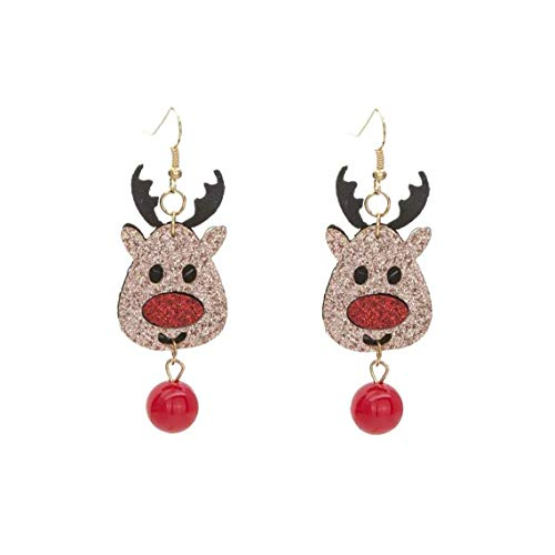 Odoukey Joyería Pendientes Pendientes de Navidad de Dibujos Animados Elk chispeantes de Navidad de Colores, Colgante Pendientes Pendientes Pendientes de Reno Precioso