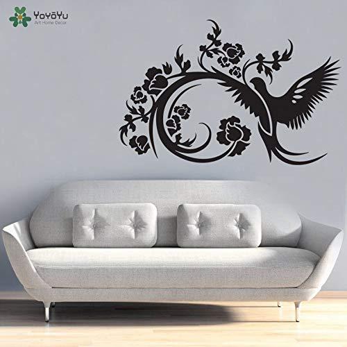 Decoratieve vogel bloem liefde hemel muursticker kunst verwijderbare muursticker muurschildering poster 85x130cm