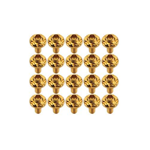 SUS304 ステンレス製 フランジ付き ボタンボルト M5×15mm P0.8 六角穴 ゴールド スノーヘッド 20個セット TR0271-20SET