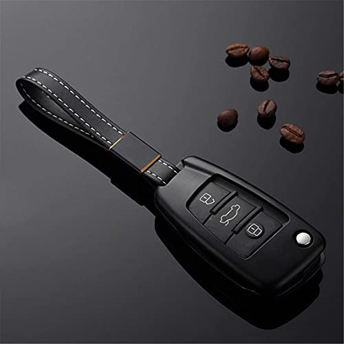 HUAQIANYU Llavero de coche, aleación de aluminio, funda para llave de coche, con correa de cuero, protector de bolsa de almacenamiento, para Audi A3, A4, S5, A6, Q3, Q5, R8, TT A-negro